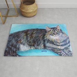 Munchkin tabby cat portrait Rug