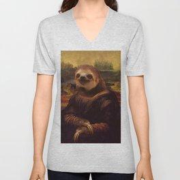 Mona Lisa Sloth - Original Artwork available in Poster. Unisex V-Neck