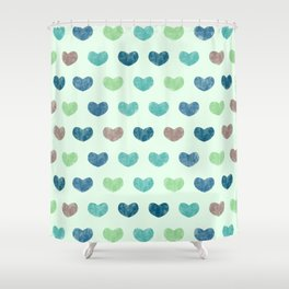 Colorful Cute Hearts V Shower Curtain