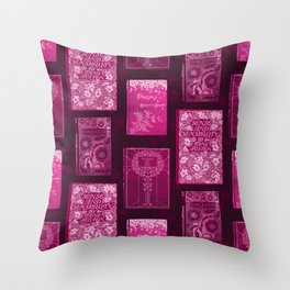 Vintage book cover pattern | Pink Throw Pillow
