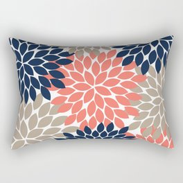 Navy Coral Beige Flower Burst Petals Floral Pattern Rectangular Pillow