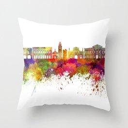 Bergamo skyline in watercolor background Throw Pillow