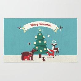 Christmas Animals and Christmas Tree Rug
