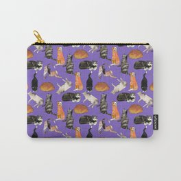 cats cats cats on purple Carry-All Pouch