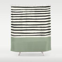 Sage Green x Stripes Shower Curtain