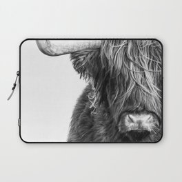 Highland Cow Portrait - Black and White Laptop Sleeve
