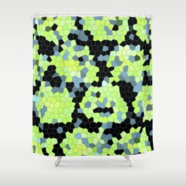 Cell Print Home Decor Graphic Design Pastel Colors Green Grey Blue Black Mint Lime Kiwi Shower Curtain