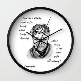 Feminist Art Maya Angelou Quote Wall Clock