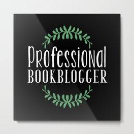 Professional Bookblogger - Black w Green Metal Print