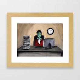 Alien on work 3 Framed Art Print