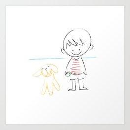 child and puppy Art Print