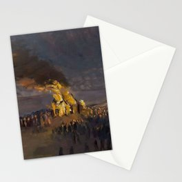 Summertime Shore Dinner and Beach Bonfire landscape painting by Helga Ancher Stationery Cards