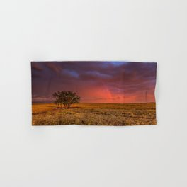 Fire Within - Red Sky and Rainbow Over Lone Tree on Great Plains Hand & Bath Towel