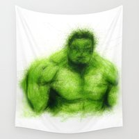 hulk Wall Tapestries featuring Hulk by KitschyPopShop