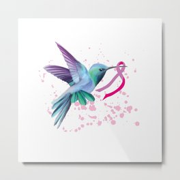 Bird And Pink Ribbon Breast Cancer Gifts, Shirt For Women Svg File Diy Crafts Svg Files For Cricut, Silhouette Sublimation Files Metal Print