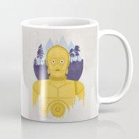 c3po Mugs featuring C3PO by Robert Scheribel