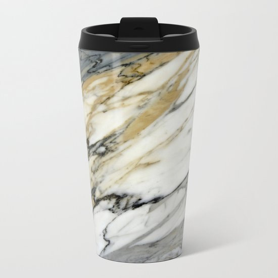 Carrara Marble Metal Travel Mug