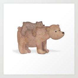 Papa Bear Piggy Back Art Print