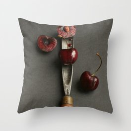 Cherries and Vintage Chisel Throw Pillow