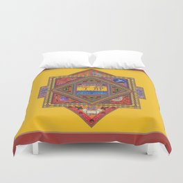 Meditations on Serenity (Yellow/gold/red background) Duvet Cover