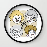 golden girls Wall Clocks featuring Thank You for Being a Friend (Golden Girls) by Marcelo Galvao
