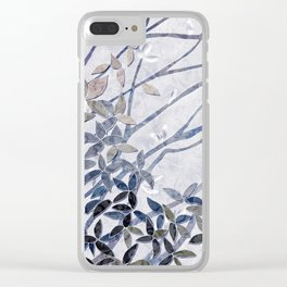 Kimono Inspired leaves and branches print blue toned Clear iPhone Case