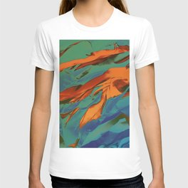 Green, Orange and Blue Abstract T-shirt