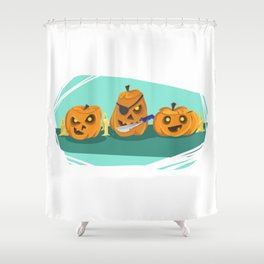 Silly Halloween Pumpkins Shower Curtain