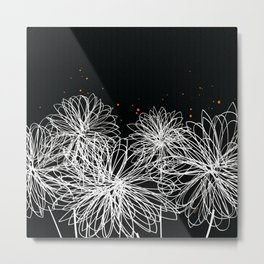 Black Doodle Floral by Friztin Metal Print