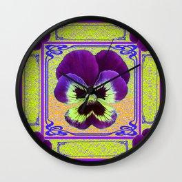 Pansy Purple-yellow Art Noveau Pattern Design Wall Clock