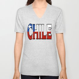 Chile Font with Chilean Flag Unisex V-Neck