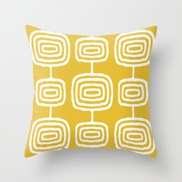 Mid Century Modern Atomic Rings Pattern 771 Mustard Yellow Throw Pillow