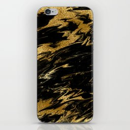 Luxury and sparkle gold glitter and black marble iPhone Skin