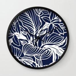 Navy Blue Floral Minimal Wall Clock