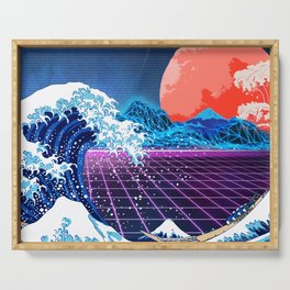 Synthwave Space: The Great Wave off Kanagawa #3 Serving Tray