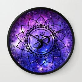 Om Mandala: Purple Blue Galaxy Wall Clock