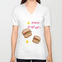 hamburger V-neck T-shirts featuring kawaii hamburger by zygodactylous