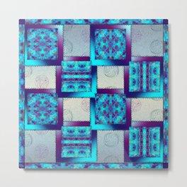 Batik Blues Quilt Metal Print