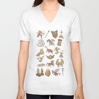 constellations V-neck T-shirts featuring 00: Constellations by mushroomtale