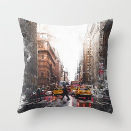 New York Streets Throw Pillow