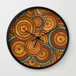 Circular Ethnic  pattern pastel gold and brown, teal Wall Clock