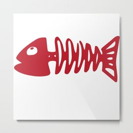 Valentines TShirt Fish Bone Metal Print
