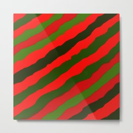 Merry Red Green Holiday Stripes Metal Print