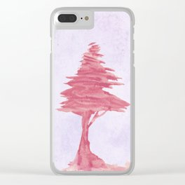 Red Tree watercolor on old paper Clear iPhone Case