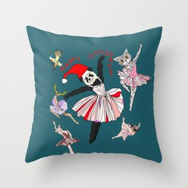 Hipster Holiday Ballerinas Throw Pillow