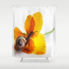 Little snail loves flowers Shower Curtain