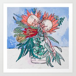 Painterly Vase of Proteas, Wattles, Banksias and Eucayptus on Blue Art Print