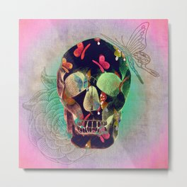 Colorful Hand Drawn Skull with Butterflies on Canvas Metal Print