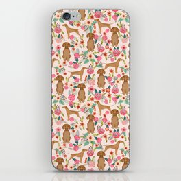 Vizsla florals dog pattern dog gifts dog breeds pet portraits by pet friendly iPhone Skin