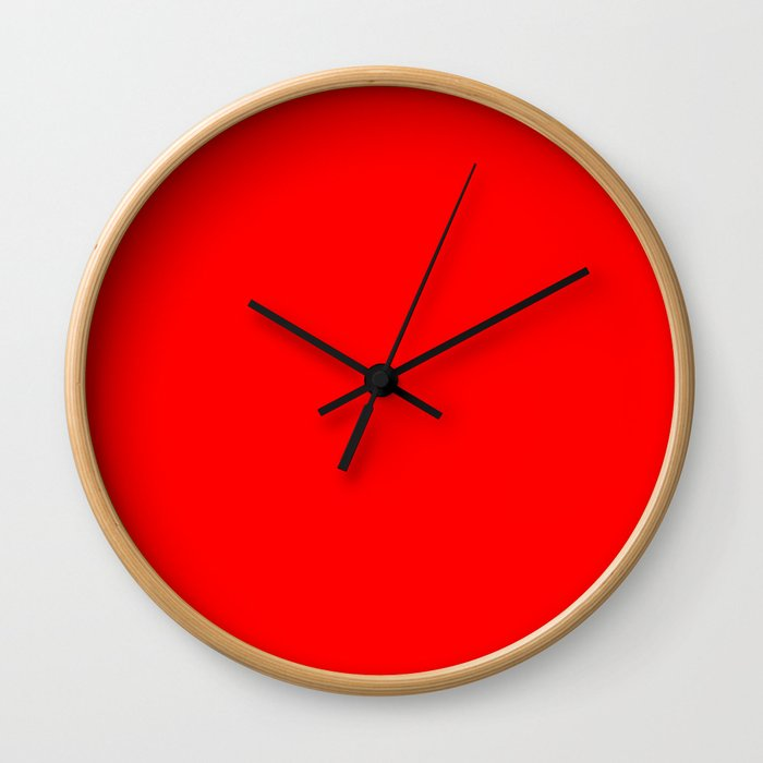 ff0000 Bright Red Wall Clock